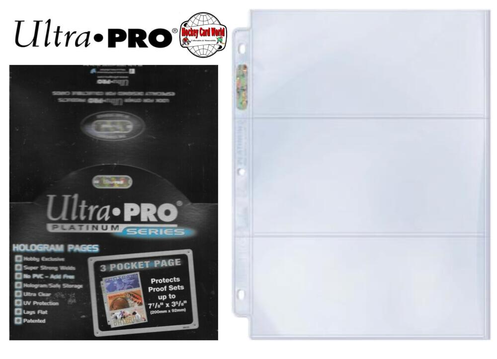 Ultra Pro Platinum - 3 Pocket Pages Sheets Protectors - 100 Sheet Box