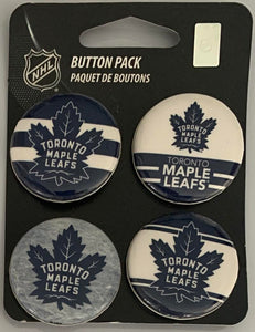 "Toronto Maple Leafs Wincraft NHL Button 4 Pack 1.25"" Round Licensed"