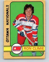 1972-73 WHA O-Pee-Chee  #318 Ron Climie  RC Rookie Ottawa Nationals  V6973
