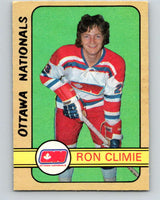 1972-73 WHA O-Pee-Chee  #318 Ron Climie  RC Rookie Ottawa Nationals  V6974