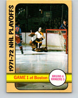1972-73 Topps #2 Playoff Game 1 Rangers/Bruins  V16551