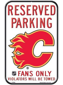 "Calgary Flames Wincraft 11""x17"" Reserved Parking Fans Only Sign"