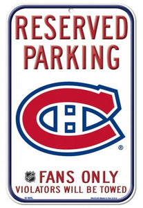 "Montreal Canadiens Wincraft 11""x17"" Reserved Parking Fans Only Sign"