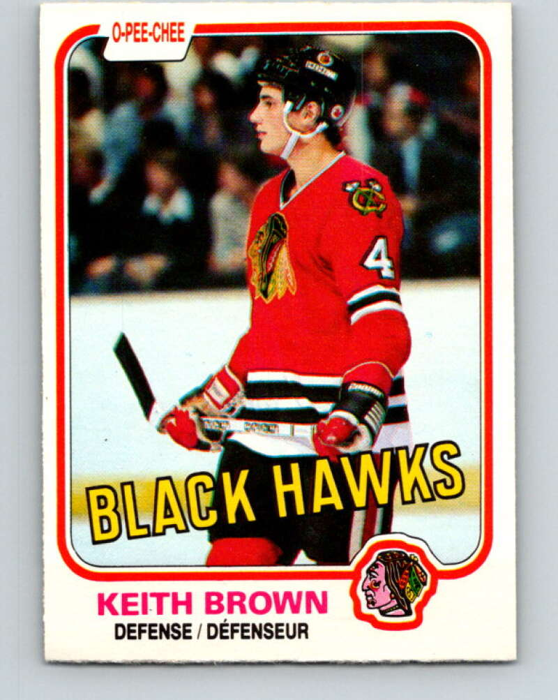 1981-82 O-Pee-Chee #55 Keith Brown  Chicago Blackhawks  V29789