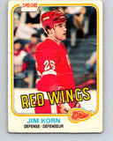 1981-82 O-Pee-Chee #91 Jim Korn  RC Rookie Detroit Red Wings  V30077