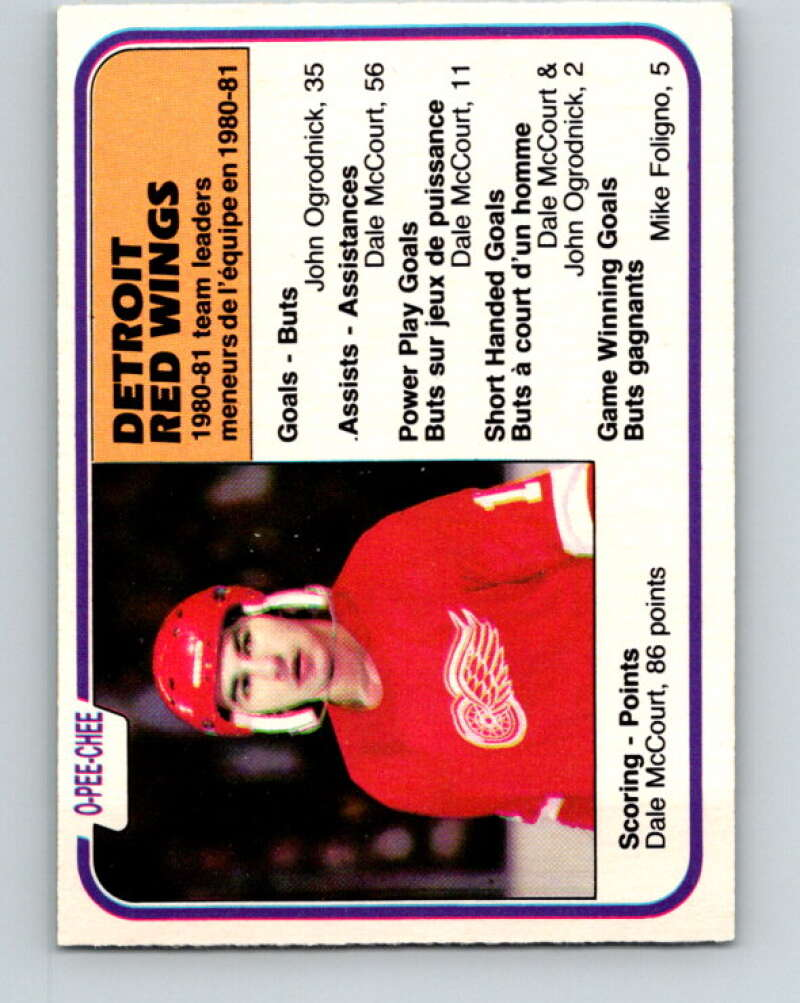 1981-82 O-Pee-Chee #105 Dale McCourt TL  Detroit Red Wings  V30210
