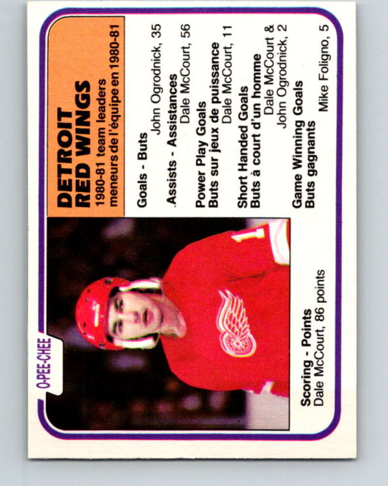 1981-82 O-Pee-Chee #105 Dale McCourt TL  Detroit Red Wings  V30211
