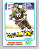 1981-82 O-Pee-Chee #130 Warren Miller  RC Rookie Hartford Whalers  V30362