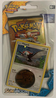 Pokemon Sun & Moon Booster Sealed Booster Pack + Pikipek Card + Pikachu Coin