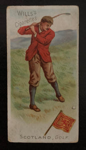 "1900 Wills's Cigarettes Tobacco ""Traveller"" Scotland Golf Vintage Golf Card V33240"