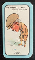 1927 Carreras The Nose Game  D.(10) Artistic Vintage Golf Card V33260