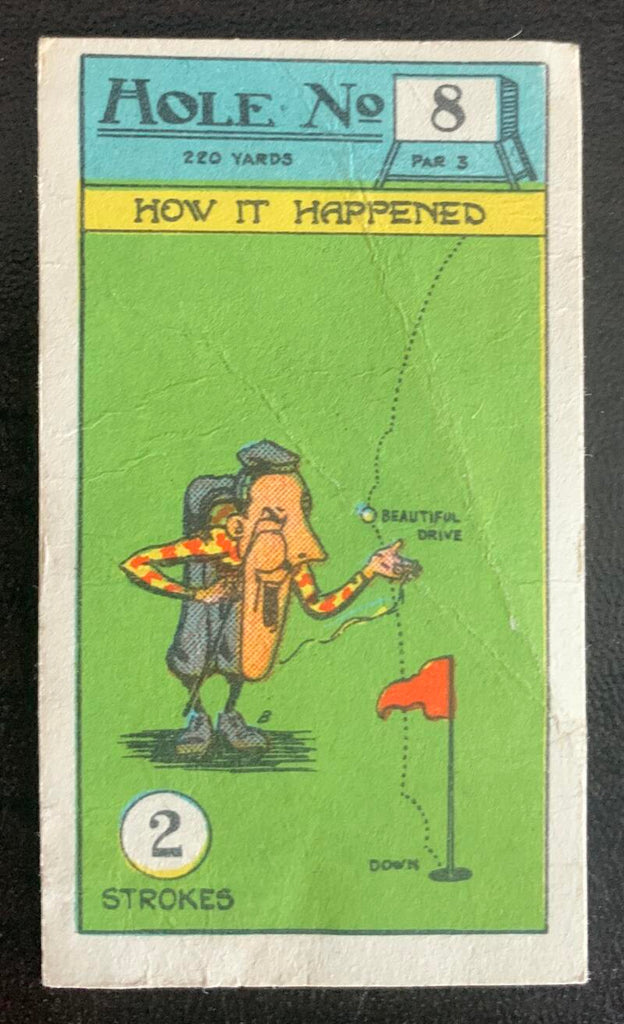 1927 Imperial Tobacco Smokers Game Hole No. 8 Vintage Golf Card V33264