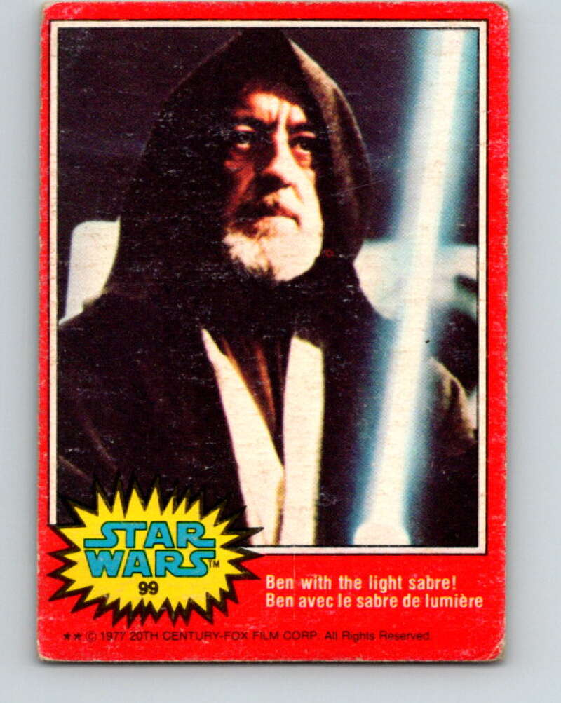 1977 OPC Star Wars #99 Ben with the light sabre!   V34182