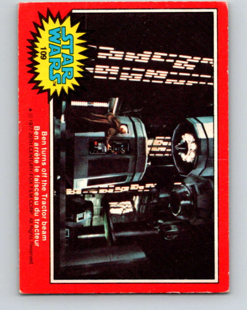 1977 OPC Star Wars #109 Ben turns off the Tractor beam   V34252