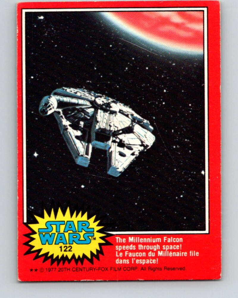 1982 OPC Star Wars #122 The Millennium Falcon speeds space!   V34365