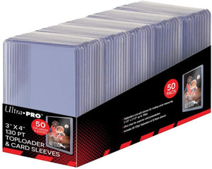 Ultra Pro 3x4 Super Thick 130 PT Toploaders with Sleeves Combo 50 Count Box