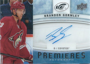 2014-15 Upper Deck Ice Premiers BRANDON GORMLEY Autograph UD 01732