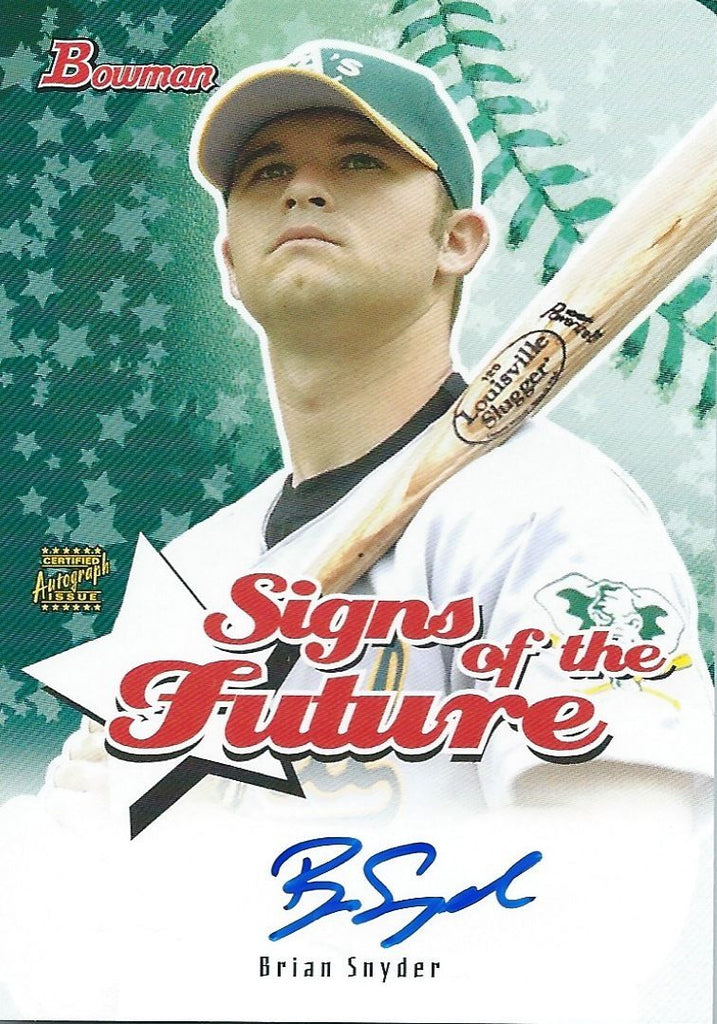 2003 Bowman Heritage Signs Greatness BRIAN SNYDER Signature Auto MLB 01317