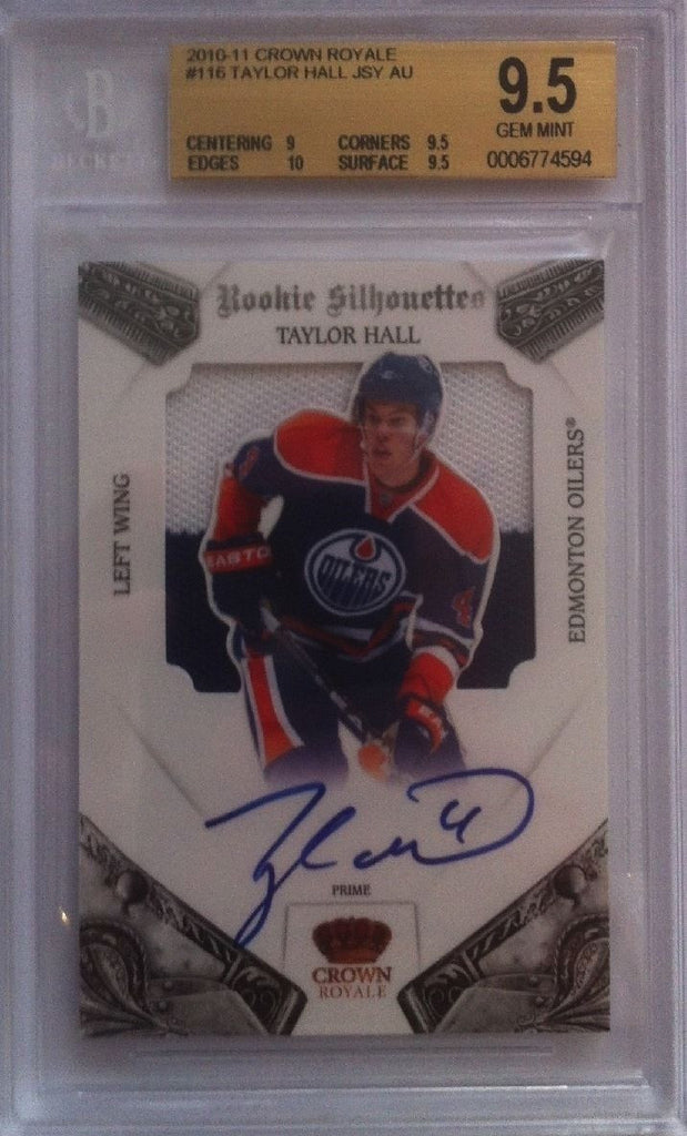 2010-11 Crown Royale TAYLOR HALL Jersey Auto RC BGS 9.5 85/99 Silhouettes
