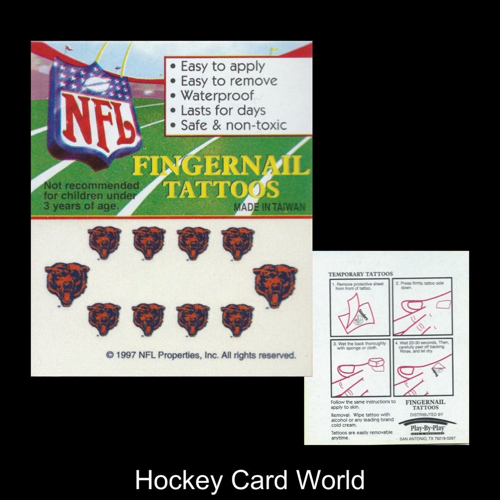 Chicago Bears Fingernail Tattoos Set of 10 Decal Sticker Licensed