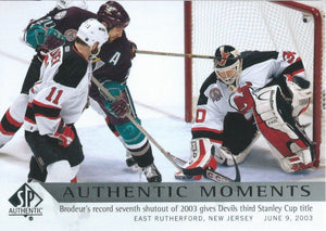 2012-13 SP Authentic #169 MARTIN BRODEUR Authentic Moments NHL 00631