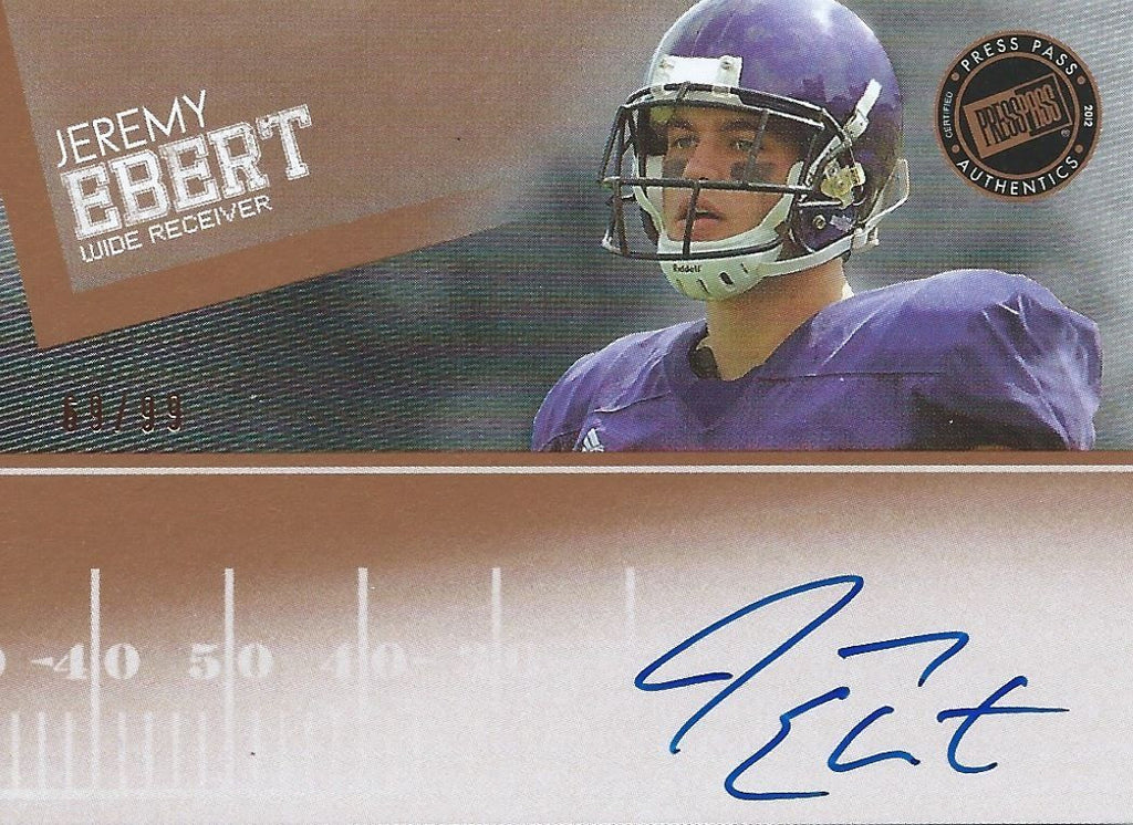 2012 Press Pass Autographs Bronze JEREMY EBERT 69/99 Auto NFL 01051