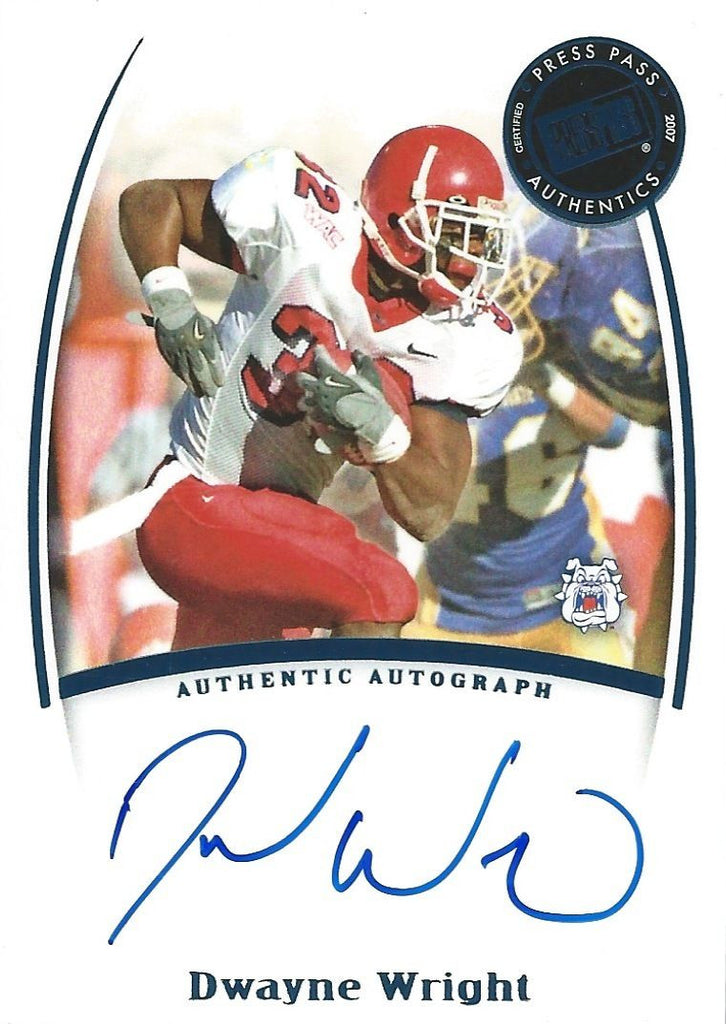 2007 Press Pass Legends Autographs DWAYNE WRIGHT Auto NFL Signatures 01082