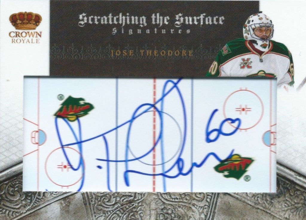 2010-11 Crown Royale JOSE THEODORE 8/100 Auto Scratching Surface 00224