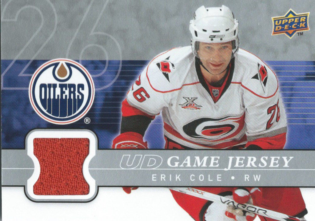 2008-09 Upper Deck Game Jersey ERIK COLE NHL Hockey 01224