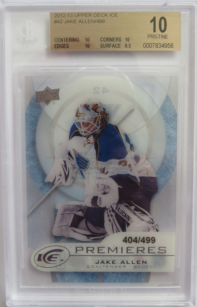 2012-13 Upper Deck Ice JAKE ALLEN 404/499 BGS 10 Pristine RC Rookie UD