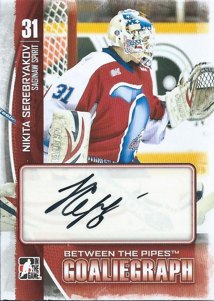 2013-14 Between the Pipes NIKITA SEREBYAKOV Autograph  Goaliegraph 00451