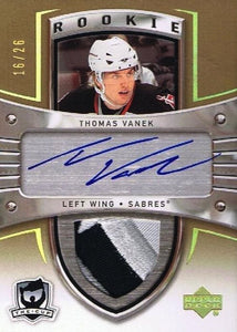 2005-06 The Cup Gold THOMAS VANEK Patch/Auto Rookie 16/26 RC - 3 Colors
