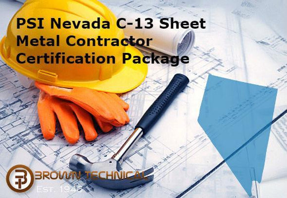 PSI Nevada C-13 Sheet Metal Contractor Certification Package