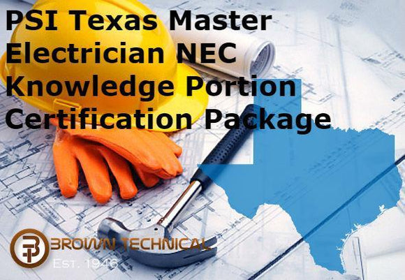 PSI Texas Master Electrician NEC Knowledge Portion Certification Package
