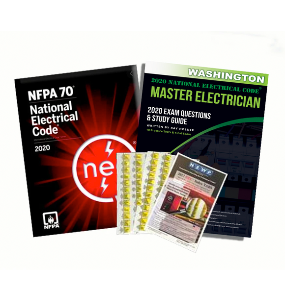 Washington 2020 Master Electrician Study Guide & National Electrical Code Combo with Tabs