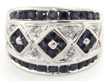 Estate 14k White Gold Ring with Diamonds and Sapphire