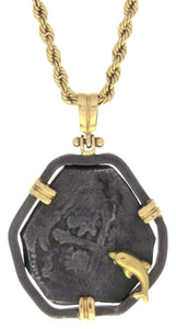 Estate 4 Reales Cob Pendant with 14k Rope Chain Necklace