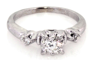 Estate 10k White Gold Diamond Engagement Ring