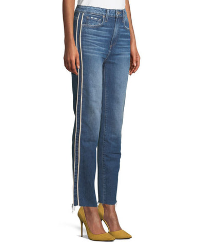 Paige Hoxton Straight-Leg Raw Edge Jeans with Piping