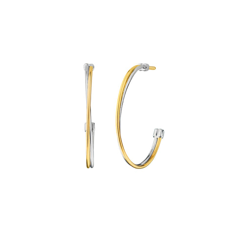 Monica Rich Kosann Two-Tone Silver Lining Hoop Earrings