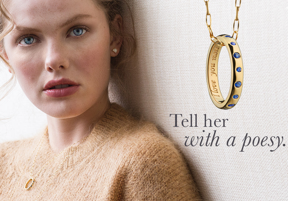 Tell her I love you more with a poesy necklace