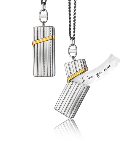 "Two-Tone Secret Message ""Vesta"" Case Necklace"