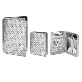 Large and Small Diamond Pattern Image Case in sterling silver, 2 photos