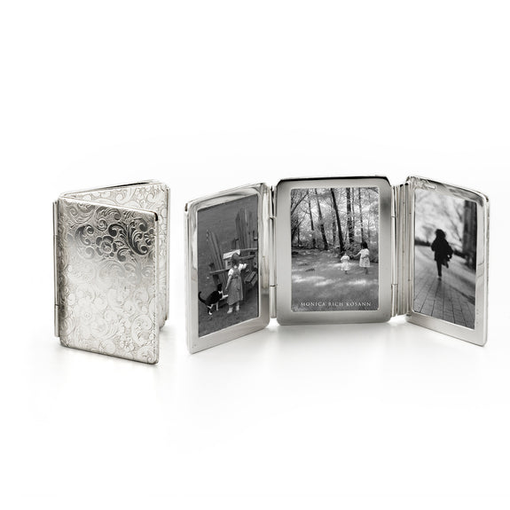 Floral Image Case folding image case for photos in Sterling Silver