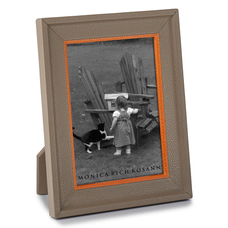 Taupe Calfskin Frame with Orange Accent