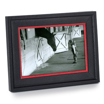 Black Calfskin Frame with Red Accent