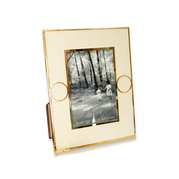 Cream Shagreen Circle Photo Frame