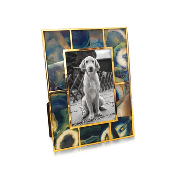 Blue Agate & 24K Gold Plated Photo Frame