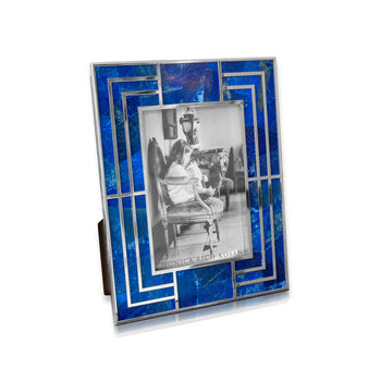 Lapis & White Metal Photo Frame