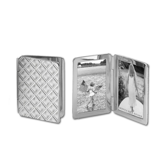 Diamond Pattern Image Case in sterling silver, 2 photos